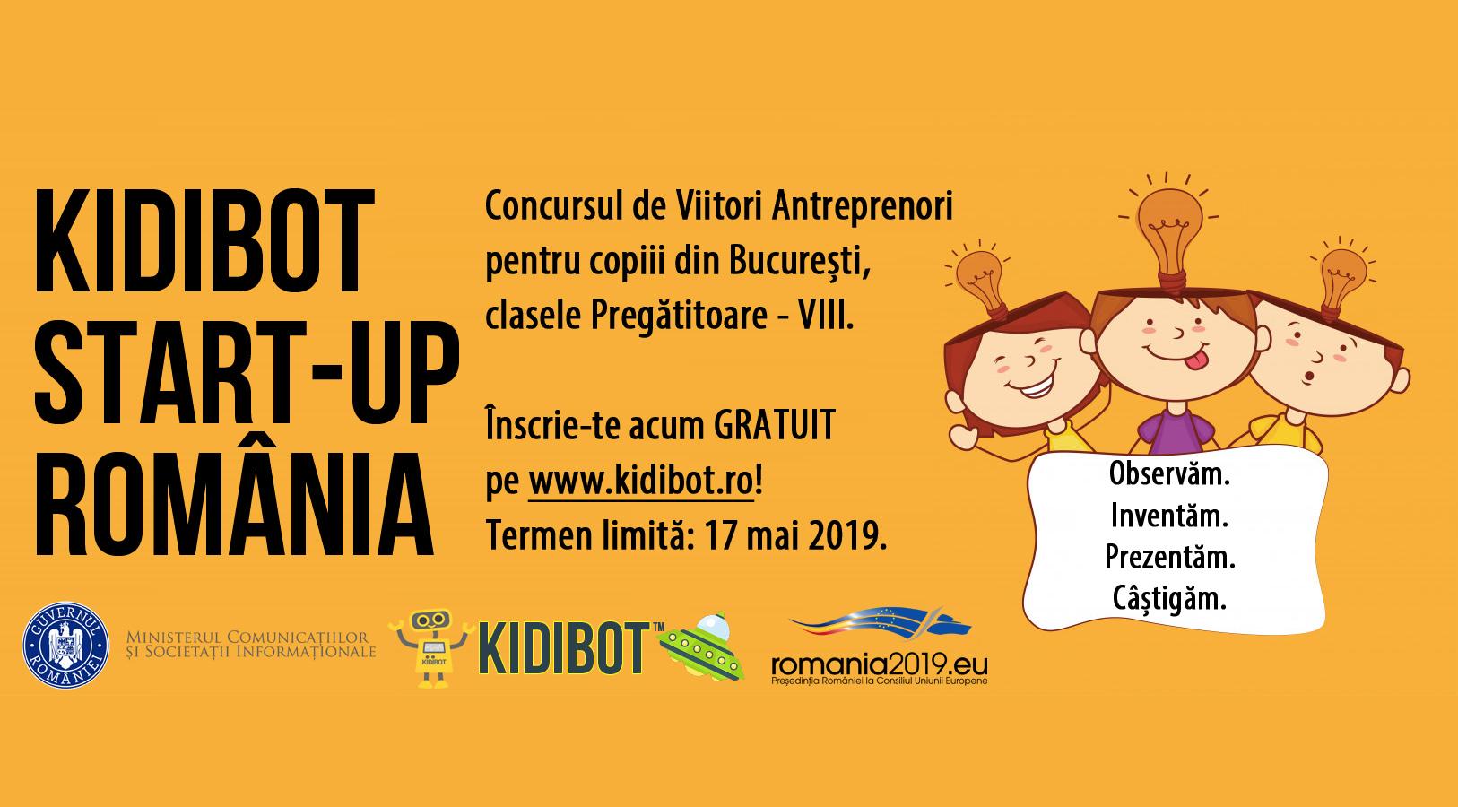 Ai copii creativi? Înscrie-i în concursul Kidibot Start-Up România!